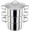 Stainless Steel 20cm 3 Tier Steamer With Glass Lid