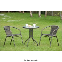 Venice Bistro Outdoor Table With 2 Rattan Chairs - UK Delivery