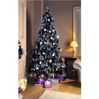 black christmas tree silver tips 7ft home living online shopping