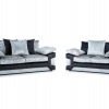 3 + 2 Kingston Sofa Crushed Velvet Black Silver